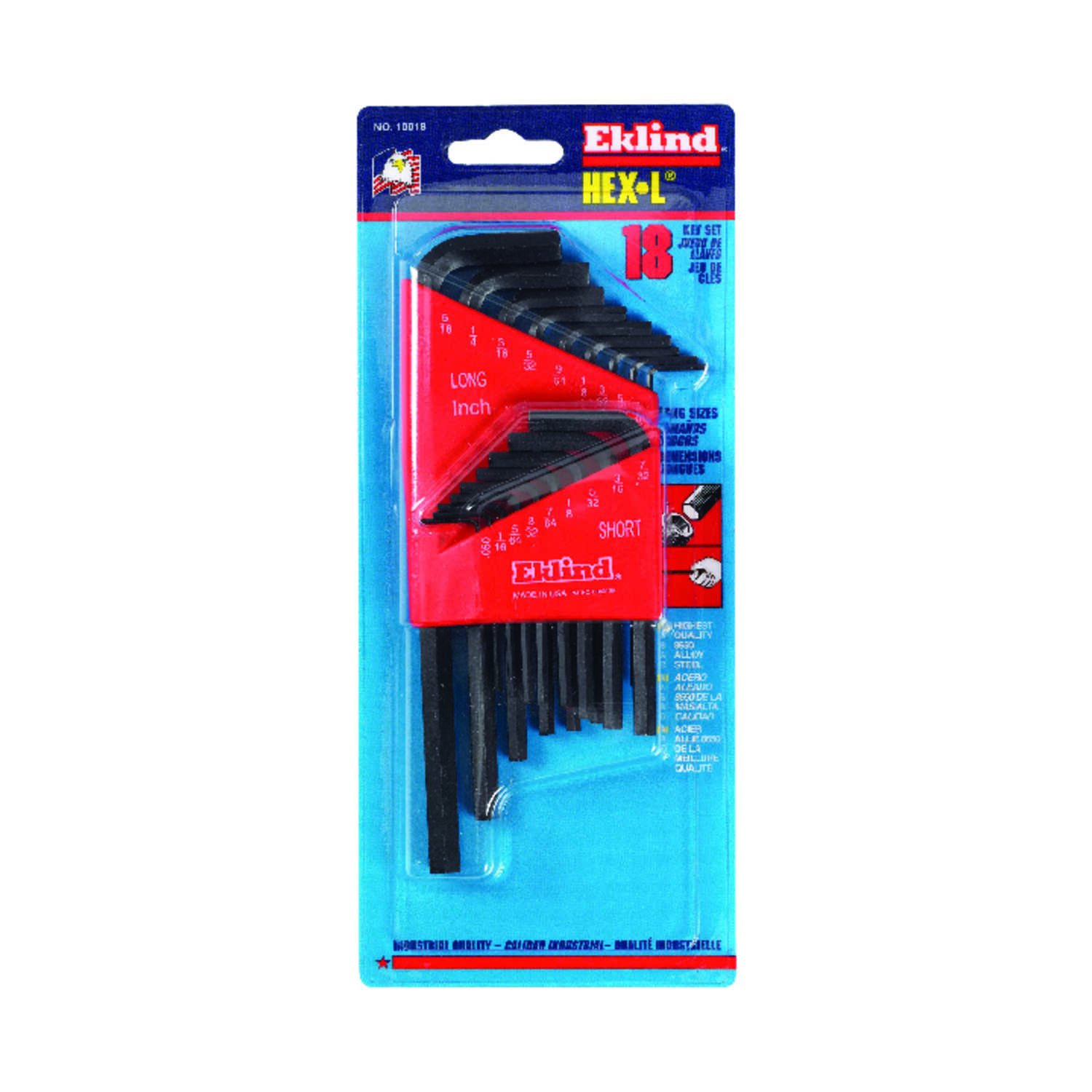 Eklind Tool  Hex-L  .050 to 5/16  SAE  Long and Short Arm  Hex L-Key Set  Multi-Size in. 18 pc.