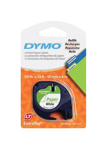 Dymo  1/2 in. W x 156 in. L White  Lable Maker Tape