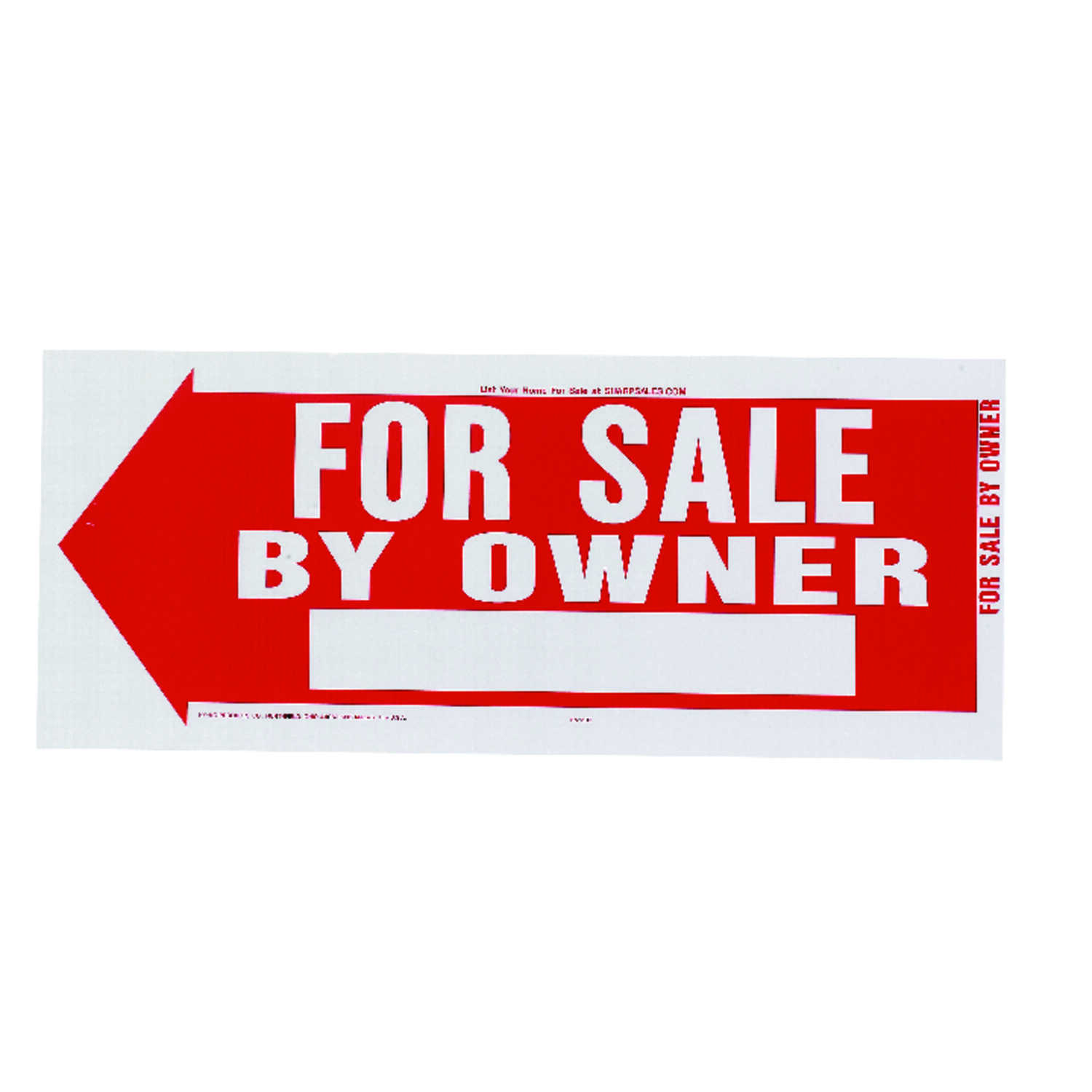 Hy-Ko  English  For Sale by Owner  Sign  Plastic  10 in. H x 24 in. W