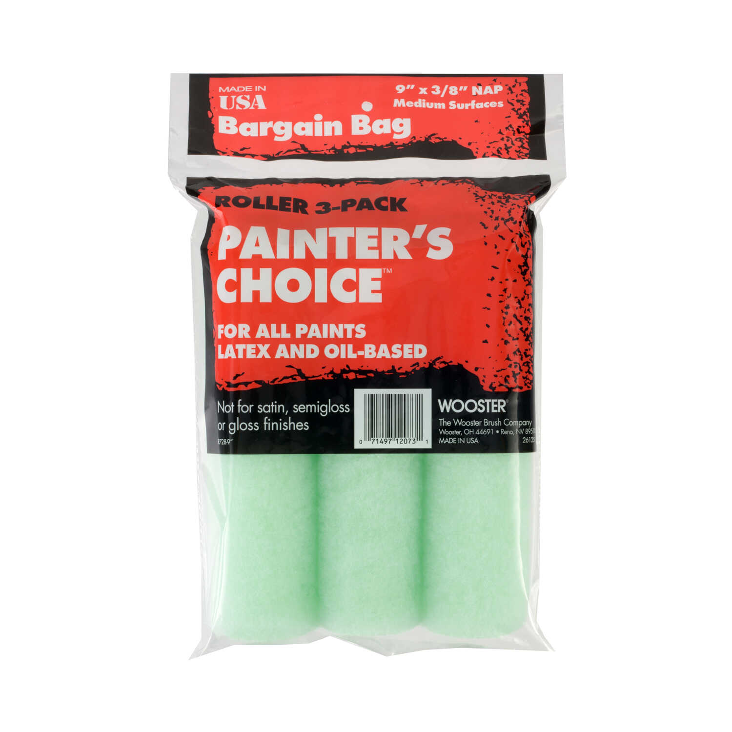 Wooster  Painter's Choice  Fabric  3/8 in.  x 9 in. W Paint Roller Cover  For Medium Surfaces 3 pk