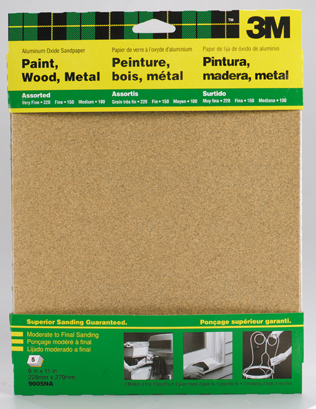 3M  11 in. L x 11 in. L x 9 in. W Assorted  Aluminum Oxide  Sandpaper  Assorted Grit 5 pk