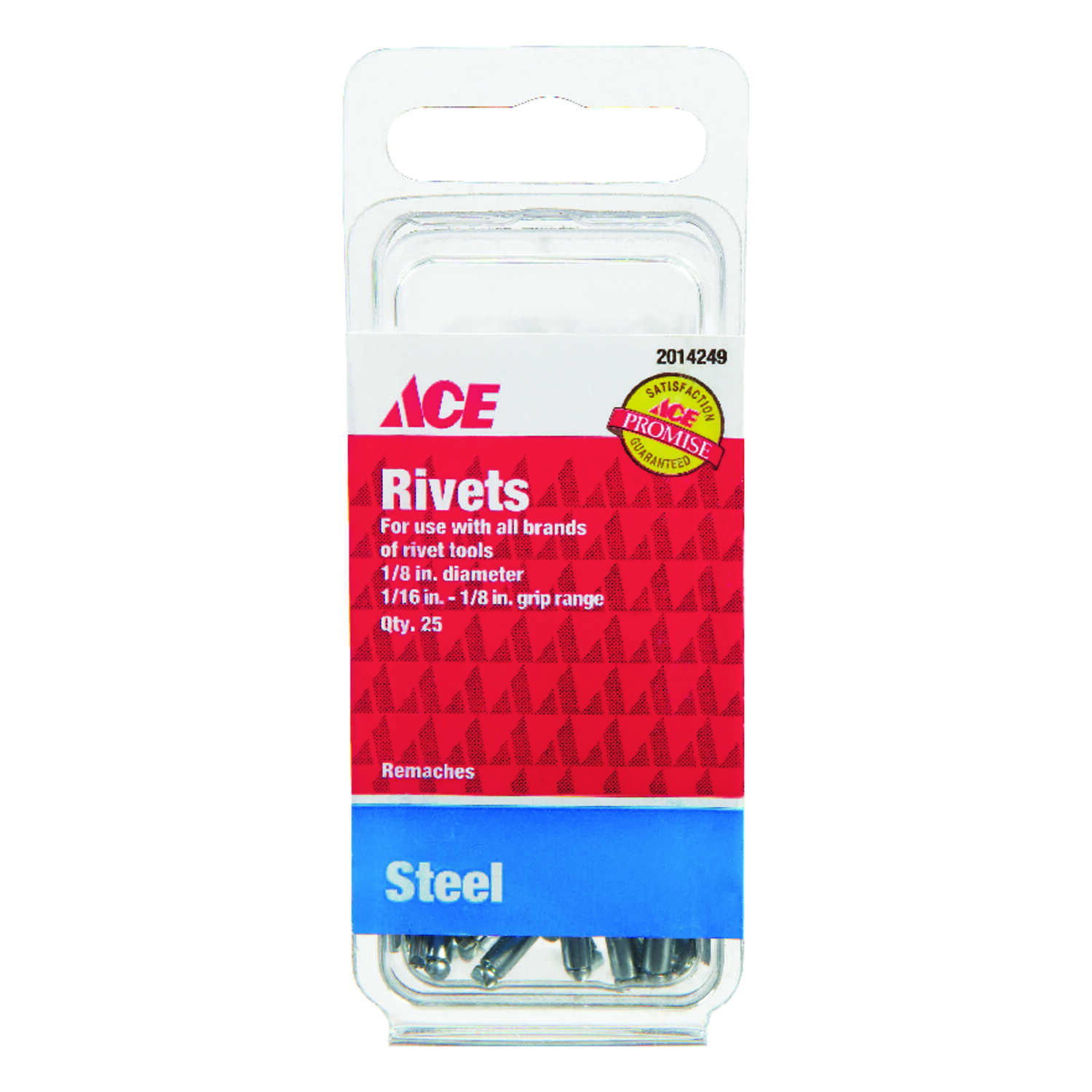 Ace  1/8  L 1/8  Steel  Rivets  25 pk Silver