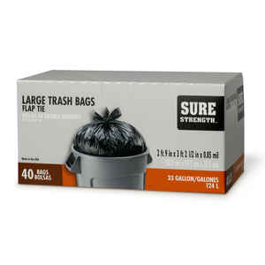 Sure Strength  33 gal. Trash Bags  Flap Tie  40 pk