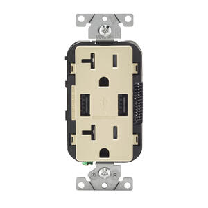 Leviton  Decora  20 amps 125 volt Ivory  Outlet and USB Charger  5-20R