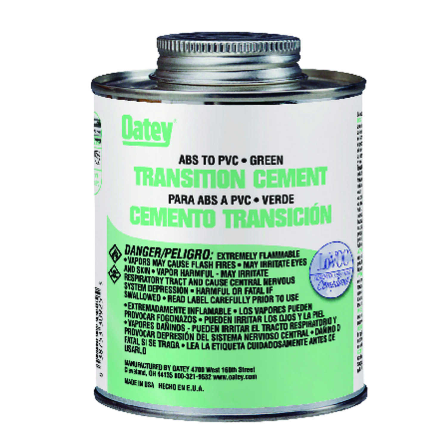 Oatey  Green  Transition Cement  For ABS/PVC 4 oz.