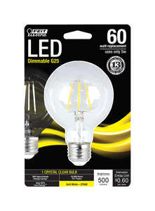 FEIT Electric  5 watts G25  LED Bulb  500 lumens Soft White  Globe  60 Watt Equivalence