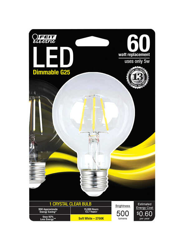 FEIT Electric  6 watts G25  LED Bulb  500 lumens Soft White  60 Watt Equivalence Globe