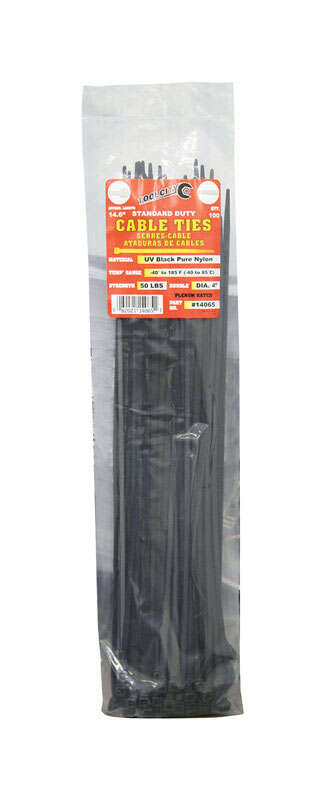 Tool City  14.6 in. L Black  Cable Tie  100 pk
