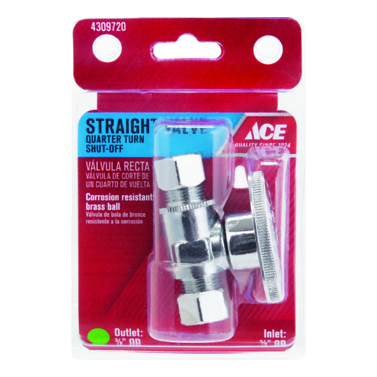 Ace  3/8 in. Compression   x 3/8 in. Dia. Compression  Brass  Quarter Turn  Straight Stop Valve