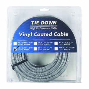 Tie Down Engineering  Vinyl Coated  Galvanized Steel  3/16 in. Dia. x 50 ft. L Aircraft Cable