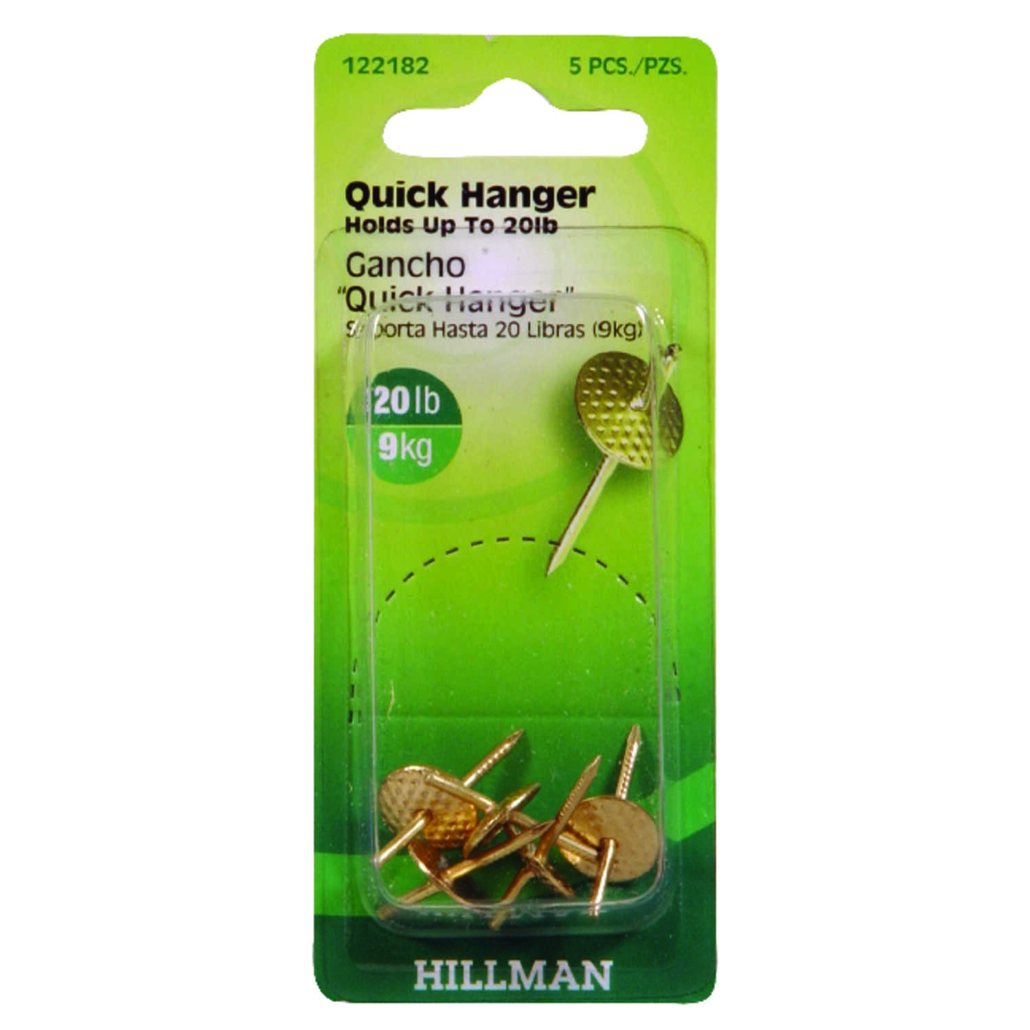Hillman  AnchorWire  Brass-Plated  One Piece  Brass  Quick Hanger  5 pk 20 lb.