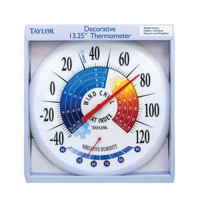Taylor  Wind Chill and Heat Index  Dial Thermometer  Plastic  Multicolored