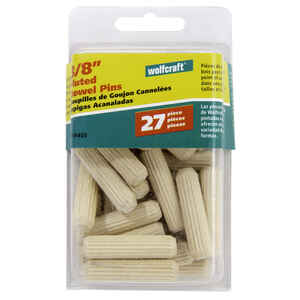 Wolfcraft  Fluted  Hardwood  Dowel Pin  3/8 in. Dia. x 1-1/2 in. L 27 pk Natural