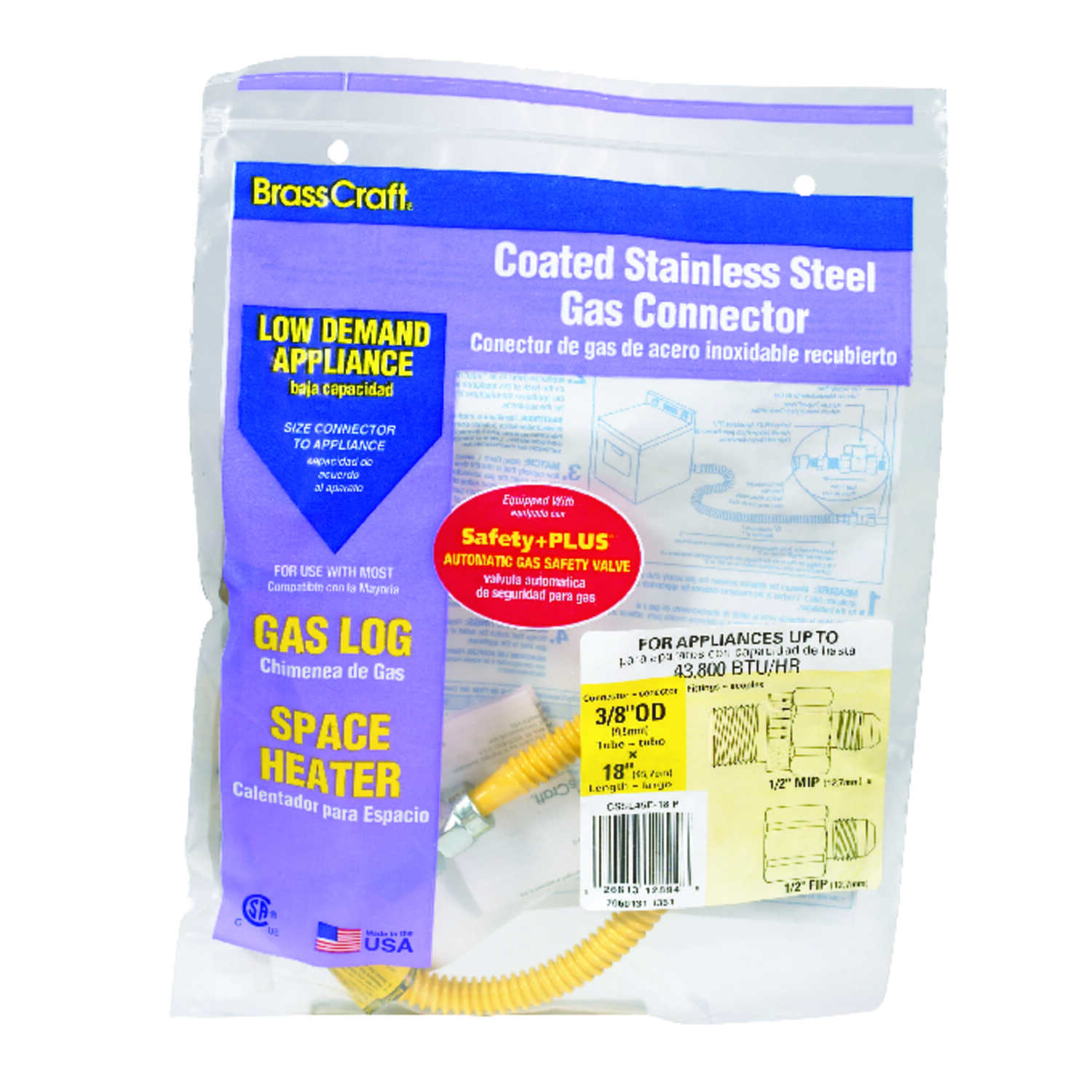 Brasscraft  ProCoat  1/2 in. FIP   x 1/2 in. Dia. MIP  Stainless Steel  18 in. Connector