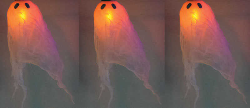 Celebrations  Flicker Ghost Lights  Halloween Decoration  White  Wire/Fabric  1 pk