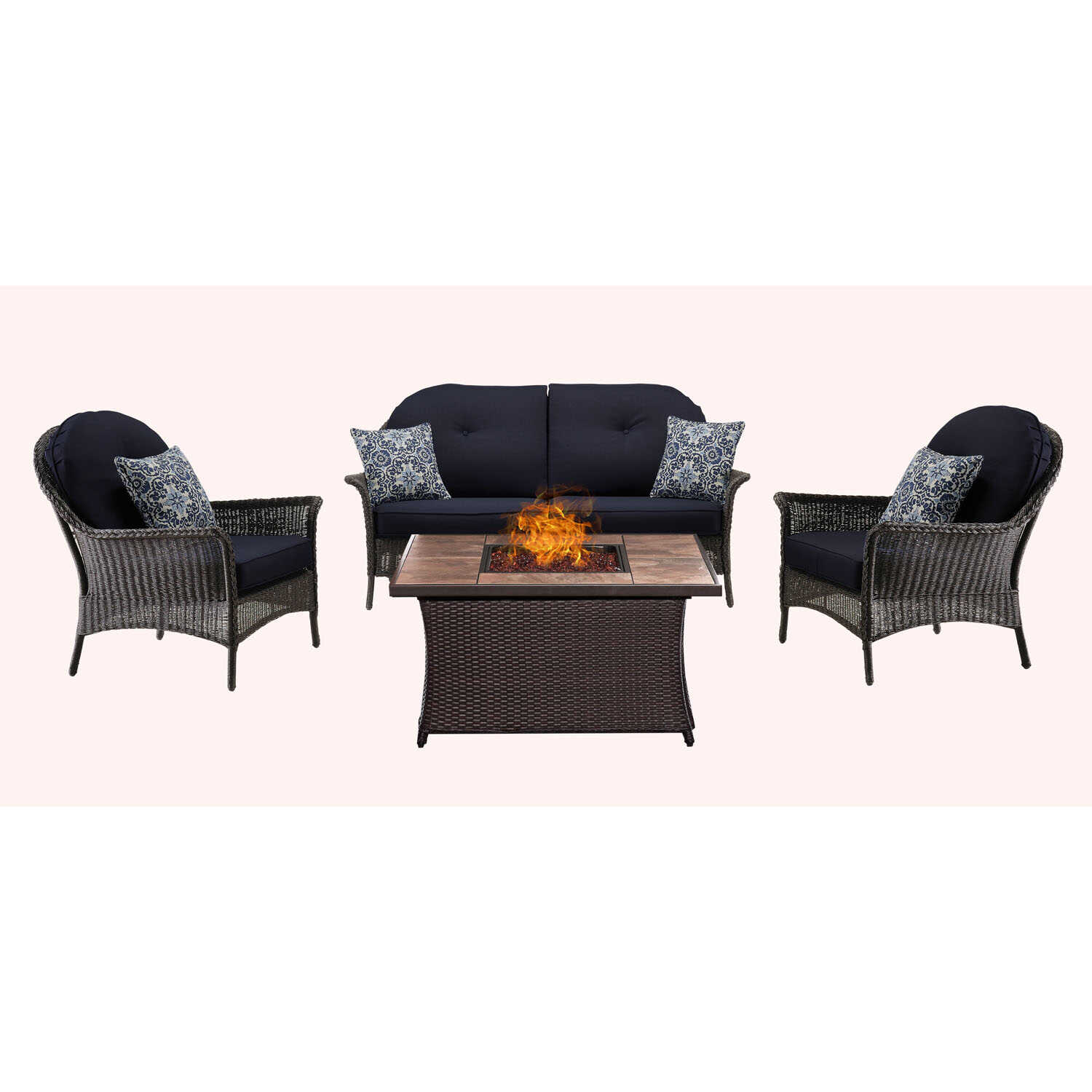 Hanover  San Marino  4 pc. Java  Steel  Chat  Firepit Set  Navy Blue