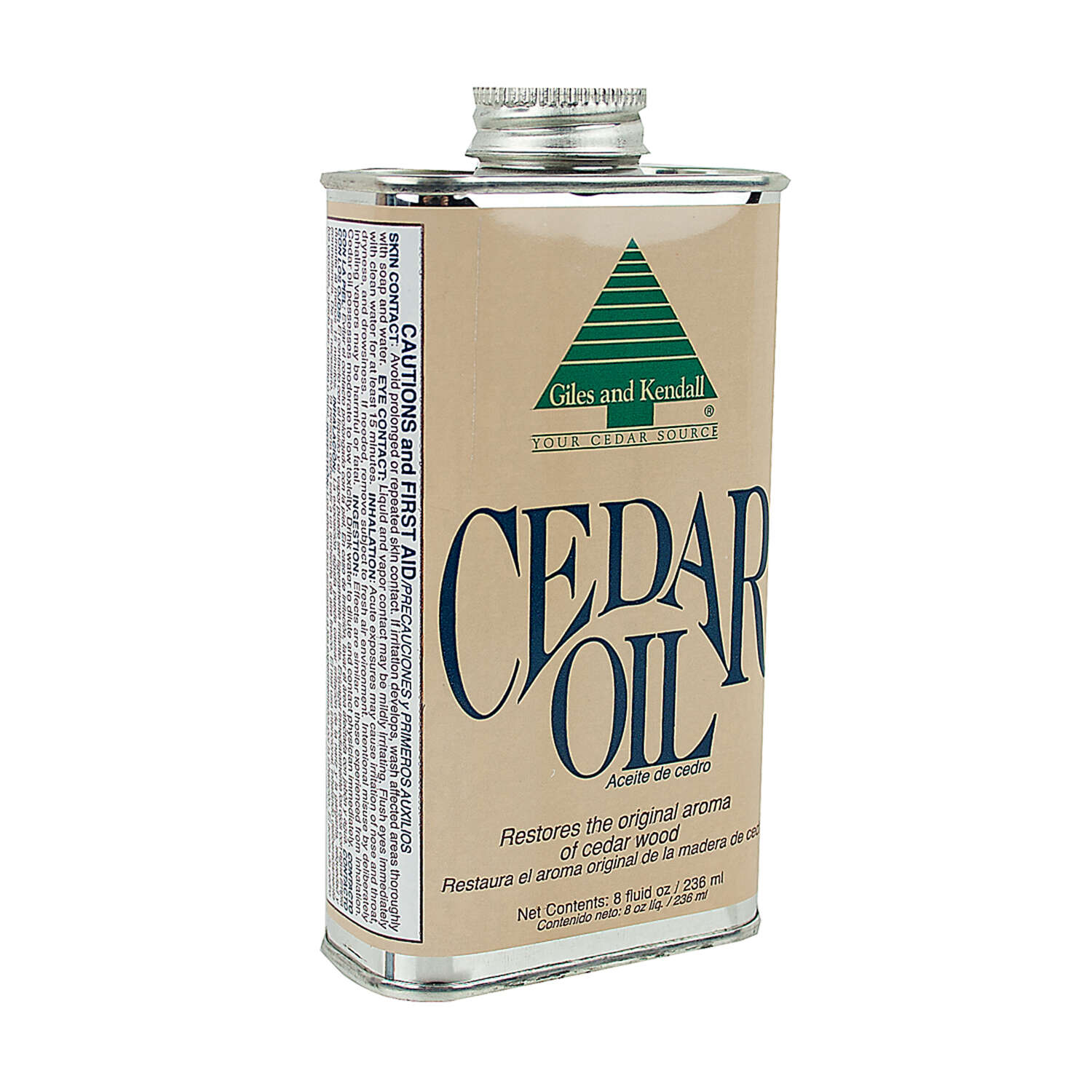 Giles & Kendall  Low Luster  Clear  Oil-Based  Cedar Oil  8 oz.