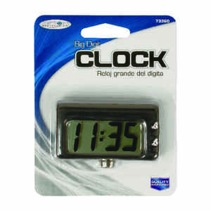 Custom Accessories  Black  Jumbo Quartz Clock  1 pk Conveniently sized to fit anywhere in your vehic