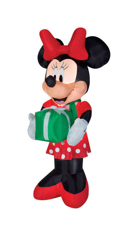 Gemmy  Minnie with Scarf and Present  Christmas Inflatable  Fabric  1 pk