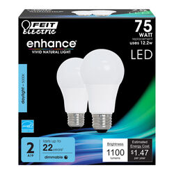 FEIT Electric  Enhance  A19  E26 (Medium)  LED Bulb  Daylight  75 Watt Equivalence 2 pk