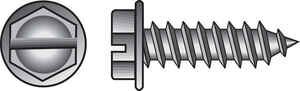 Hillman  14 in.  x 1-1/4 in. L Slotted  Hex Washer Head Zinc-Plated  Steel  Sheet Metal Screws  100