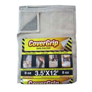 CoverGrip  Light Weight  Canvas  Drop Cloth  3.5 ft. W x 12 ft. L Ivory