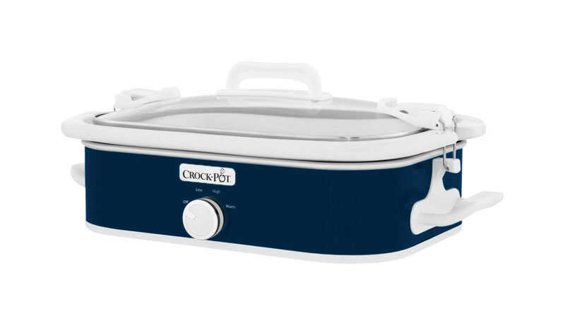 Crock Pot  3.5 qt. Ceramic  Blue  Casserole Slow Cooker