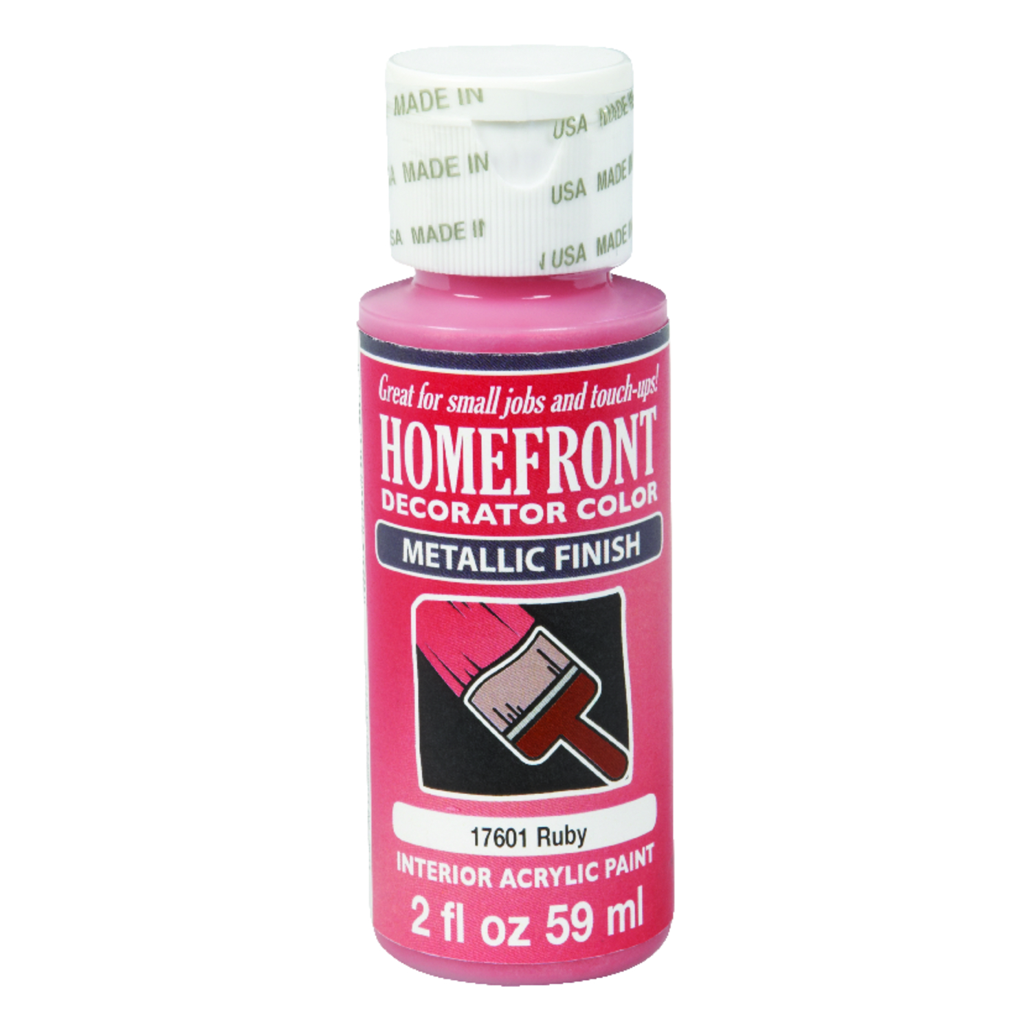Homefront  Decorator Color  Metallic  Acrylic Latex  Hobby Paint  Ruby  2 oz.