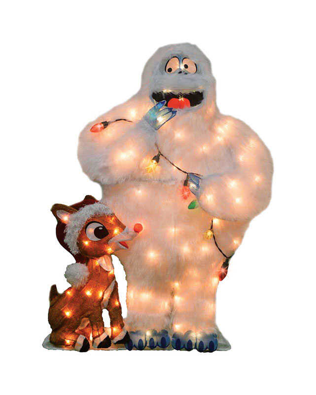 Product Works  Rudolph  Pre-Lit 2D Rudolph and Bumble  Yard Art  1 pk Metal  Brown/White