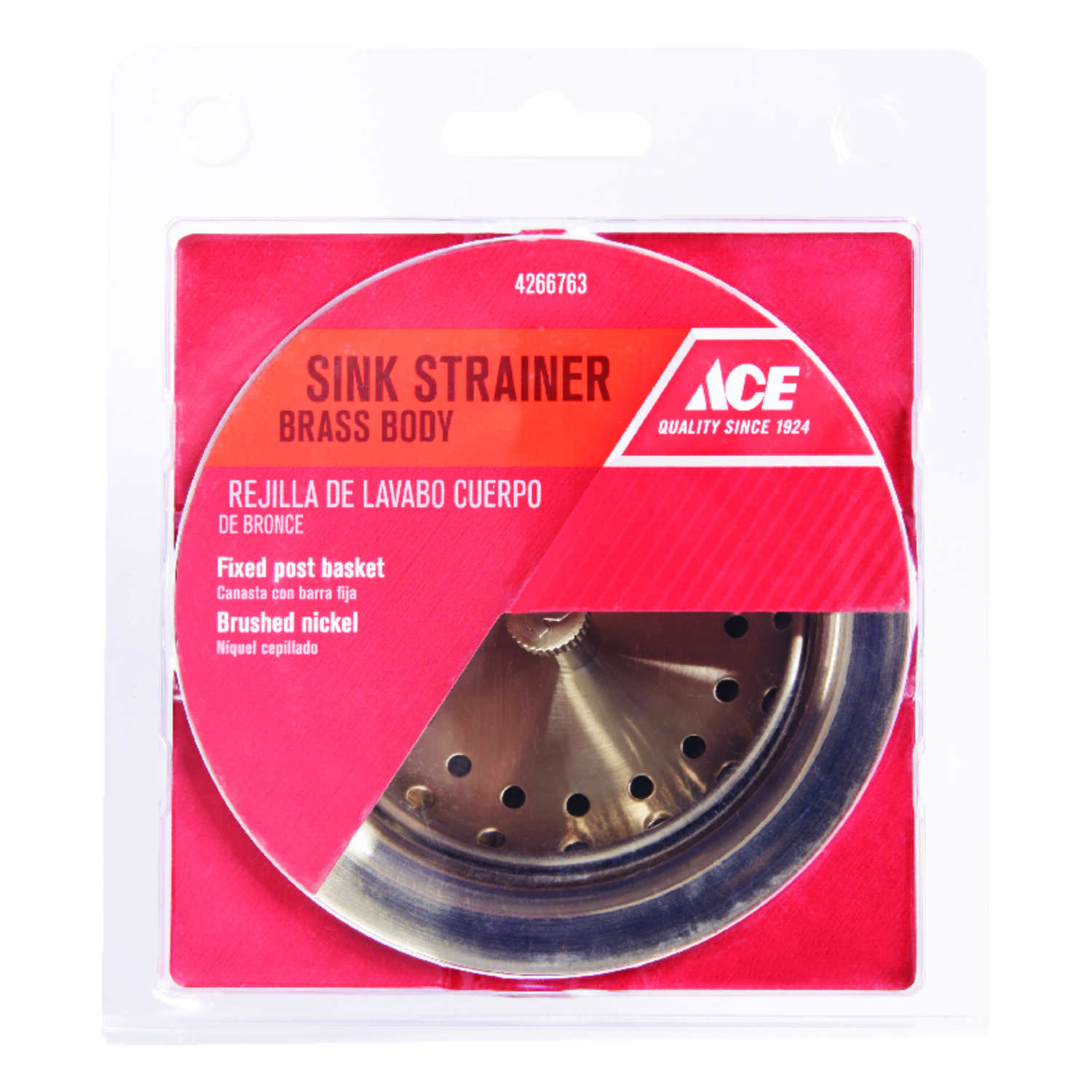 Ace  3 1/2 in. Dia. Basket Strainer Assembly  Brushed Nickel