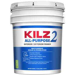 Kilz 2  Mildew-Resistant  White  Water-Based  Primer and Sealer  5 gal. For Brick, Painted Metal, Gl