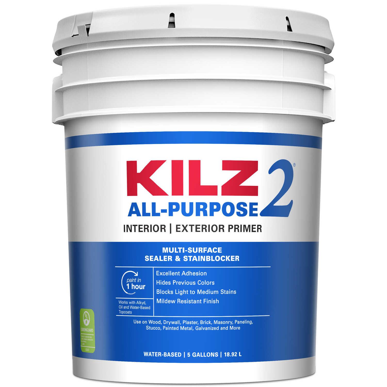Kilz 2 Mildew-Resistant White Water-Based Primer and Sealer 5 gal ...
