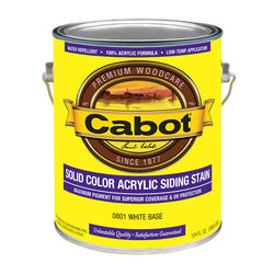 Cabot  Solid  Tintable 0801 White Base  Water-Based  Acrylic  Solid Color Acrylic Deck Stain  1 gal.