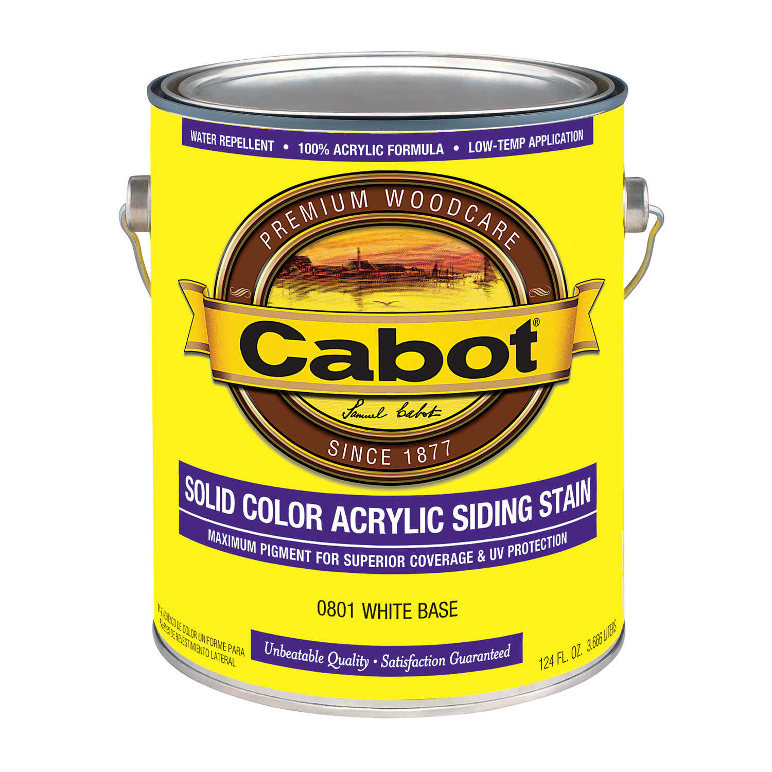 Cabot  Solid  Tintable White Base  Water-Based  Acrylic  Siding Stain  1 gal.