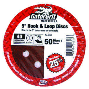 Gator  5 in. Aluminum Oxide  Sanding Disc  40 Grit Extra Coarse  50 pk Hook and Loop