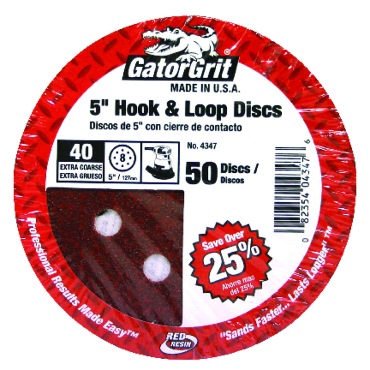 Gator  5 in. Aluminum Oxide  Hook and Loop  Sanding Disc  40 Grit Extra Coarse  50 pk