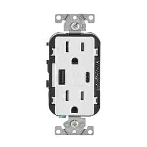 Leviton  Decora  15 amps 15 - 125 volt White  Outlet and USB Charger  5-15R  1 pk