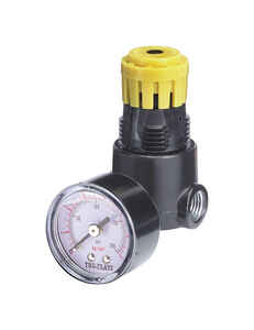Tru-Flate  Plastic/Steel  1/4  NPT  250 psi 1 pc. Mini Regulator with Gauge