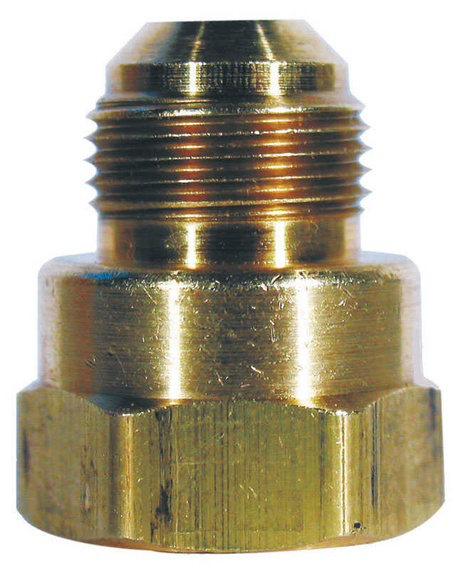 JMF  3/8 in. Flare   x 3/8 in. Dia. Female  Flare Adapter  Brass