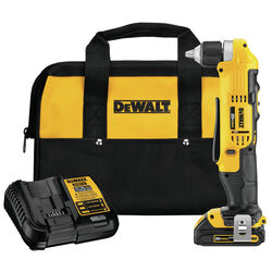 DeWalt  20 volt 3/8 in. Brushed  Cordless Right Angle Drill/Driver  Kit (Battery & Charger)