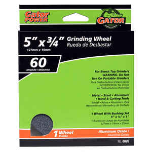 Gator  3/4 in. thick  x 5 in. Dia. x 1 in.   Aluminum Oxide  Grinding Wheel  4965 rpm 1 pc.
