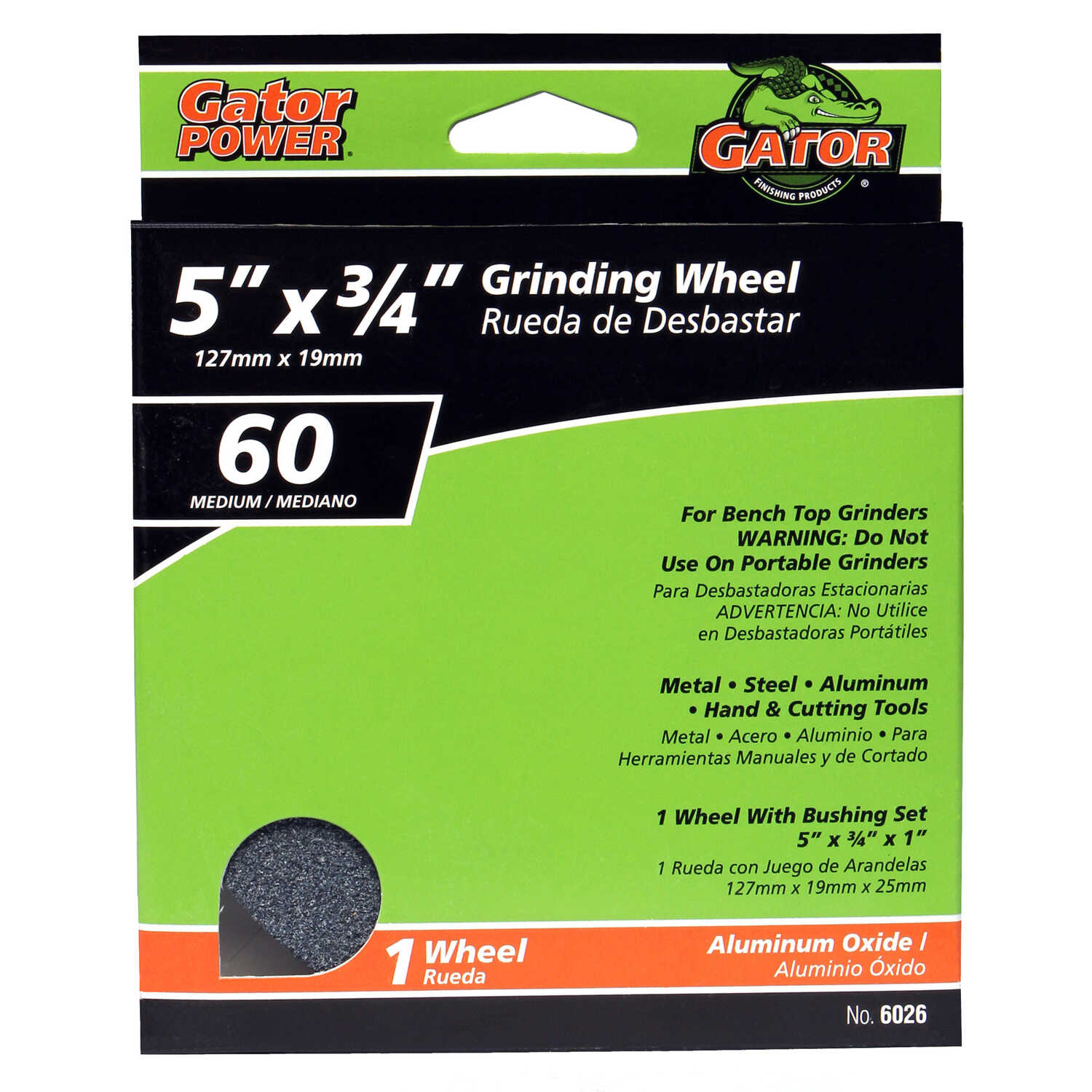 Gator  5 in. Dia. x 1 in.   x 3/4 in. thick  Aluminum Oxide  Grinding Wheel  1 pc. 4965 rpm