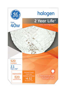 GE Lighting  Edison  40 watts G25  Halogen Bulb  520 lumens Soft White  1 pk Globe  Medium Base (E26