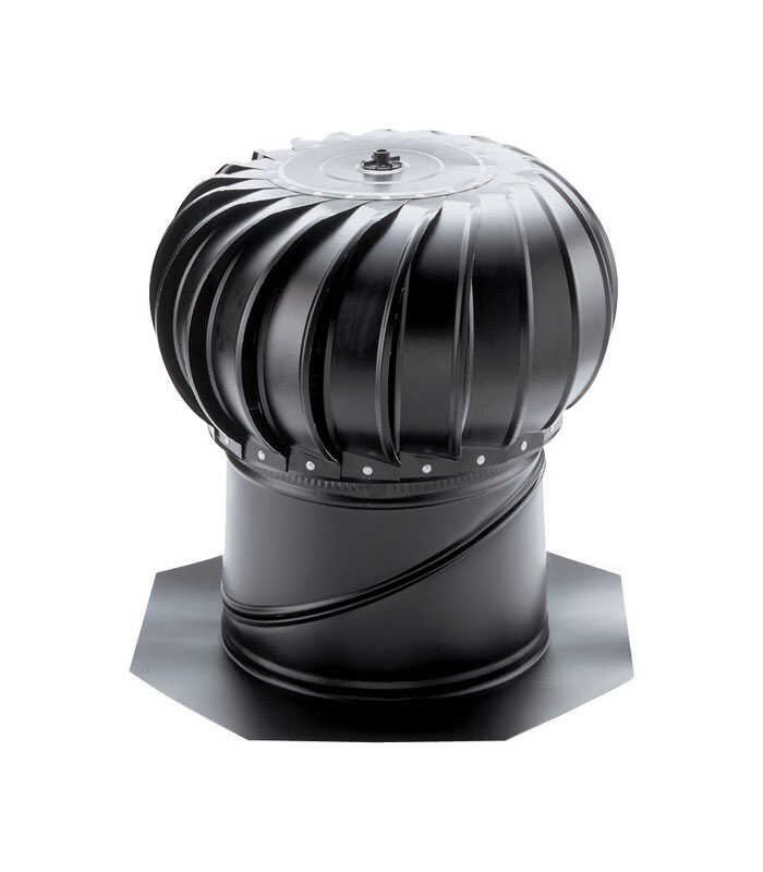 Air Vent  20 in. H x 19.5 in. W x 19.5 in. L x 12 in. Dia. Black  Galvanized Steel  Turbine and Base