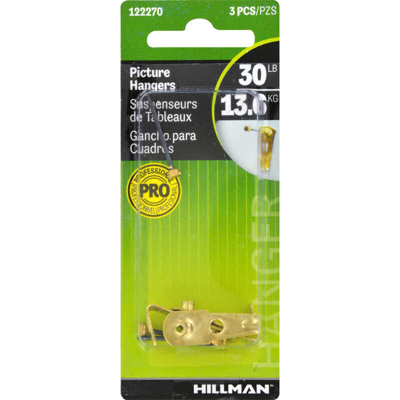 Hillman  AnchorWire  Brass-Plated  Steel  Classic  30 lb. 3 pk Picture Hanger