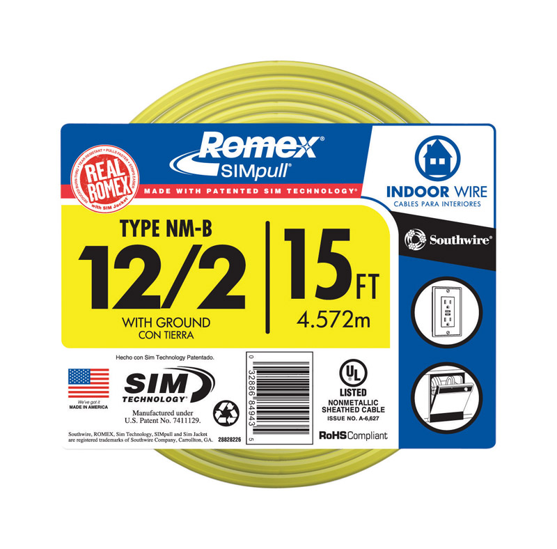 Southwire 15 ft. Solid Romex Type NM-B WG Non-Metallic Wire 12/2 ...