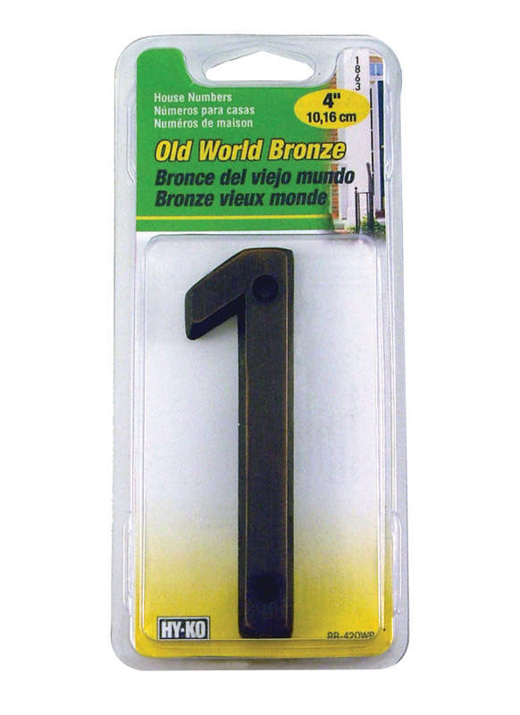 Hy-Ko  4 in. Bronze  Brass  Nail-On  Number  1  1 pc.