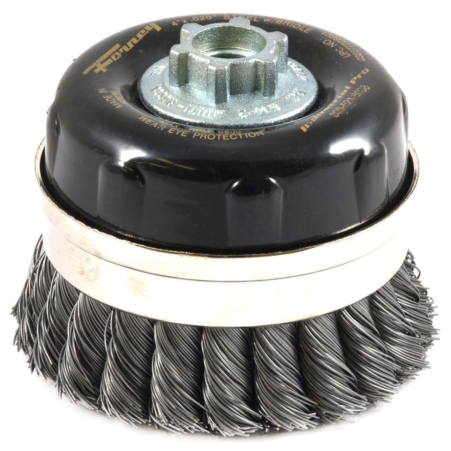 Forney  4 in. Dia. x 5/8 in.  Knotted  Steel  Cup Brush  8500 rpm 1 pc.