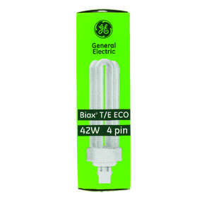 GE Lighting  Ecolux  42 watts T4  6.4 in. Warm White  Fluorescent Bulb  Triple Biax  1 pk 3200 lumen