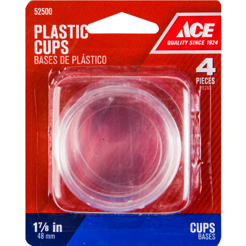 Ace  Plastic  Caster Cup  Round  Clear  1-7/8 in. W 4 pk